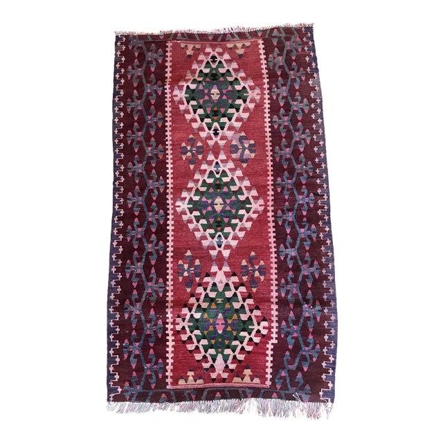 1960s Vintage Kilim Handmade Rug-2′8″ × 4′10″ For Sale