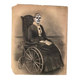 """Grandma Edith"" Contemporary Drawing on 19th Century Photograph by Chris Heck For Sale"