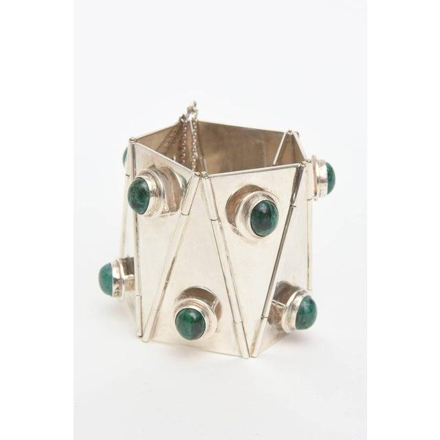 Green Sterling Silver & Malachite Sculptural Cuff Bracelet Vintage For Sale - Image 8 of 10