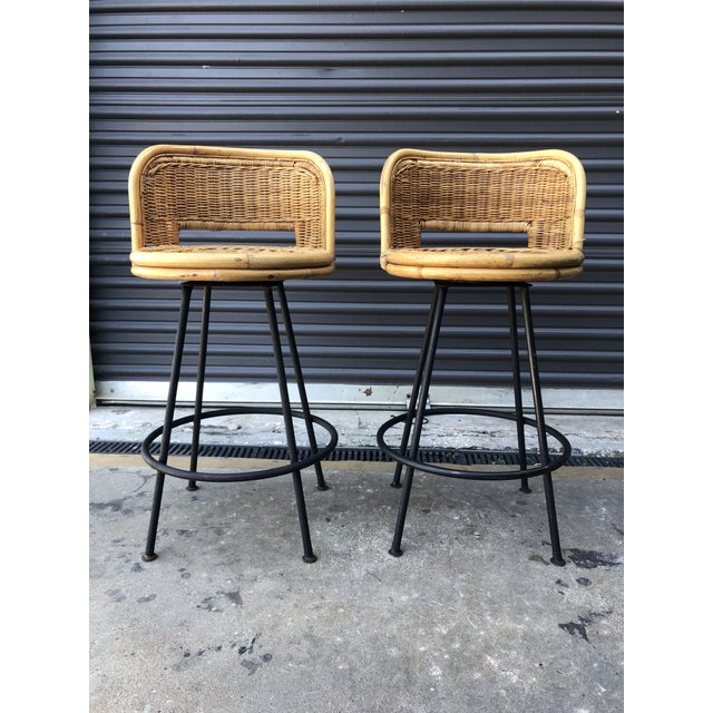 Super Mid Century Wicker Rattan Counter Height Bar Stools Pabps2019 Chair Design Images Pabps2019Com