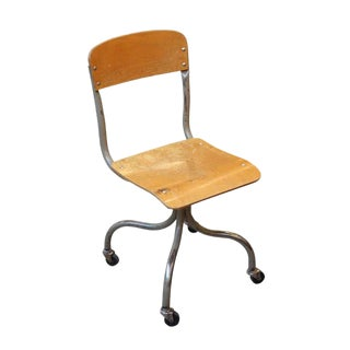 Wheeled Metal & Wood Office Chair For Sale