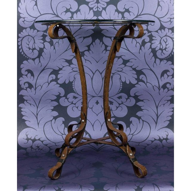 """Unique French """"Leather"""" Wrought Iron Table With Glass Top - Image 6 of 11"""