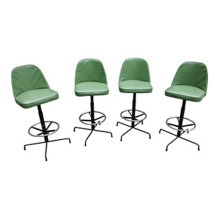 Mid-Century Modern Green Swivel Bar Stools - Set of Four