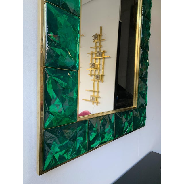 Contemporary Contemporary Brass Mirror Console with Green Murano Glass, Italy For Sale - Image 3 of 13