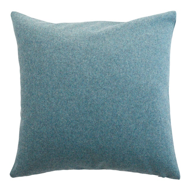 FirmaMenta Italian Solid Aegean Blue Sustainable Wool Pillow For Sale