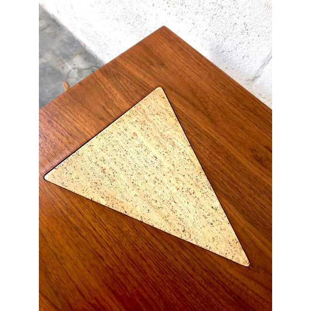 Vintage Mid Century Modern End Table With Travertine Inlay. For Sale - Image 9 of 10