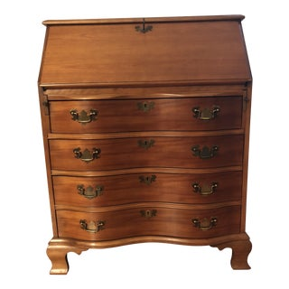 1940s Chippendale Mahogany Ball and Claw Serpentine Slant Top Governor Winthrop Desk For Sale