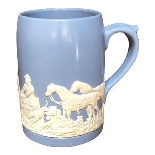 Vintage Blue Jasperware Tankard Mug Hunt Scene For Sale