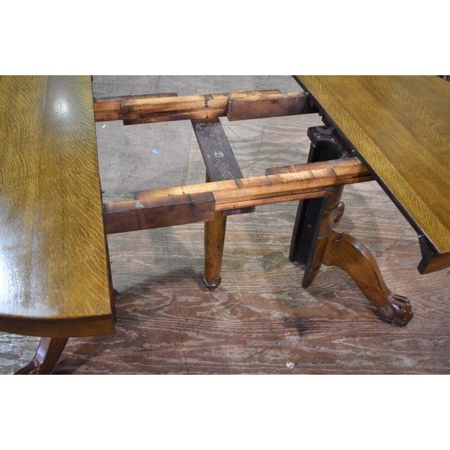 62f588ec5cd8 Antique Round Tiger Stripe Quarter Sawn Oak Dining Table For Sale - Image 6  of 8