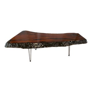 Large Live Edge Redwood Slab Coffee Table on Hairpin Legs, 1970s For Sale