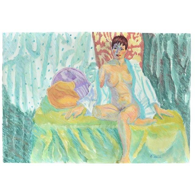 "Esther Akrish ""Nude With White Robe"" Original Mixed Media - Image 1 of 4"