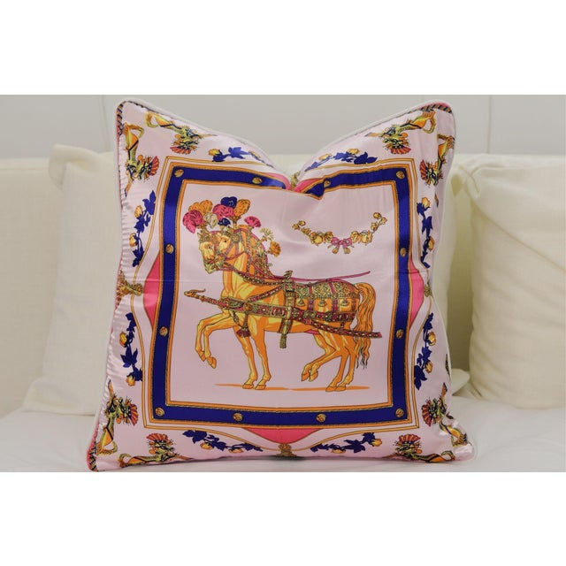 Pink Horse Silk Pillow For Sale - Image 4 of 4