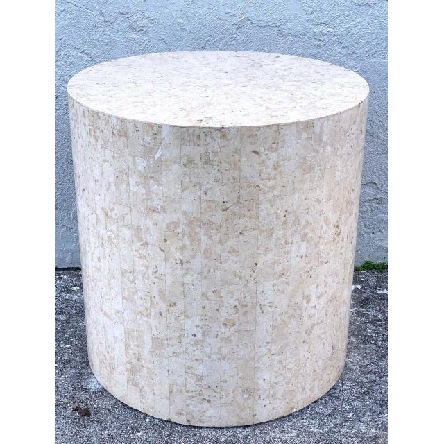 Modern tessellated stone pedestal by Maitland-Smith, of substantial proportions 27 -inch diameter x 28-inch high.