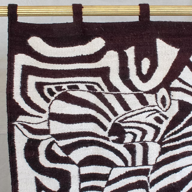 Large African Mohair Zebra Wall Hanging - Image 4 of 11
