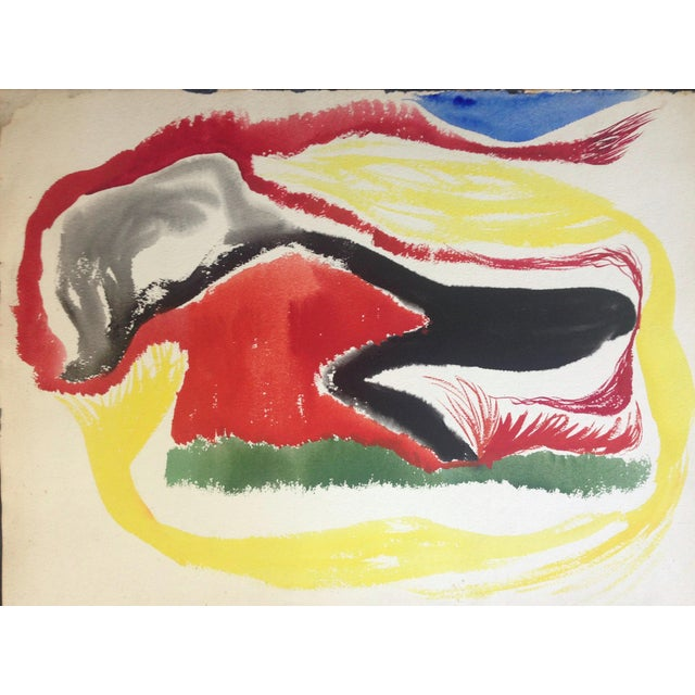 1950s Jo Landor Mid Century Abstract Red Mountain For Sale