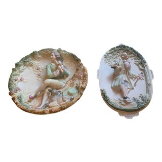 Mid 20th Century Victorian China Wall Figures - a Pair For Sale