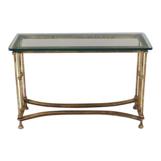 Gold Gild Iron Base Glass Top Console Table For Sale