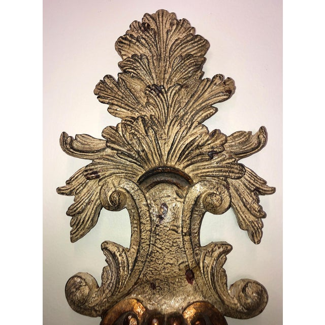 Vintage Mid-Century Cast Faux Bois Provincial Sconces - A Pair For Sale - Image 9 of 13