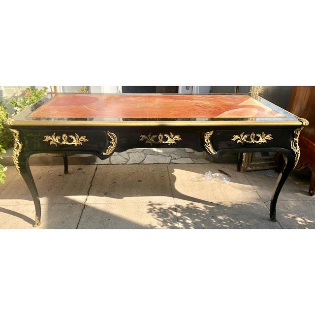 French Antique Louis XV Gilt Bronze Black Lacquer Writing Table Partners Desk For Sale - Image 3 of 6