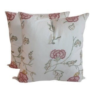 Floral Crewel Work Pillows - A Pair For Sale