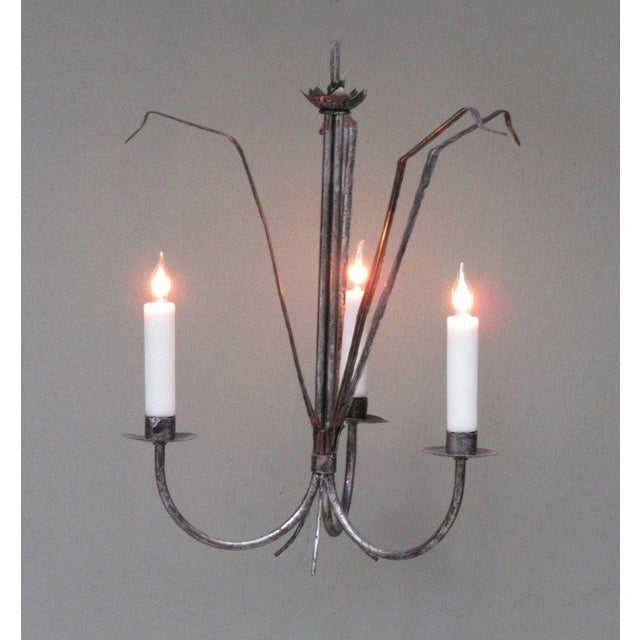 Silver Early 20th Century Spanish Barcelona Silvered Tole Reed Chandelier For Sale - Image 8 of 8
