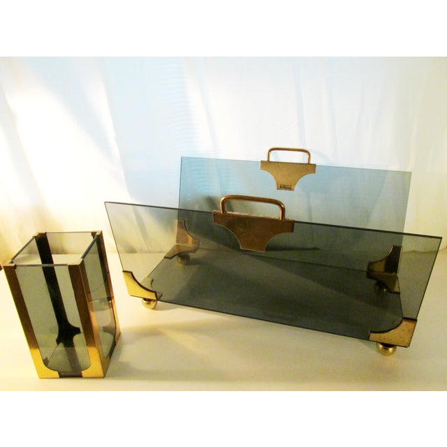 1970's Hollywood Regency Fireplace Log and Matches Holder For Sale - Image 4 of 5