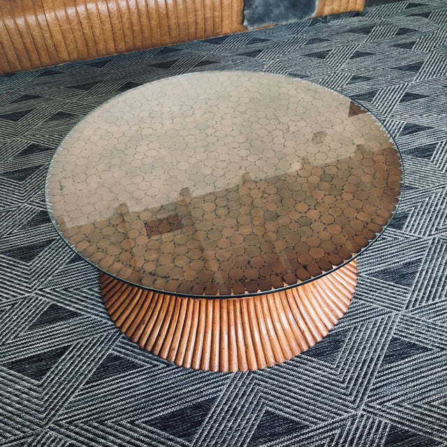 John McGuire McGuire Sheaf of Wheat Bamboo Coffee Table For Sale - Image 4 of 5