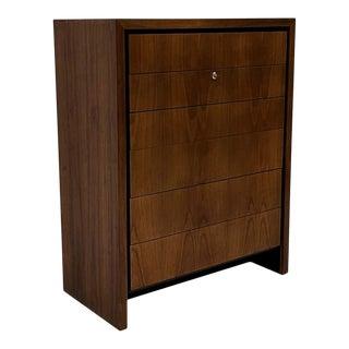 Merton L. Gershun Streamlined 6-Drawer Highboy Dresser in Walnut by Dillingham For Sale