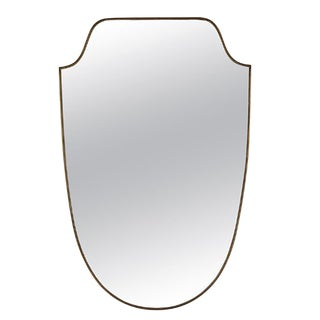 Mid 20th Century Italian Brass Shield Mirror For Sale