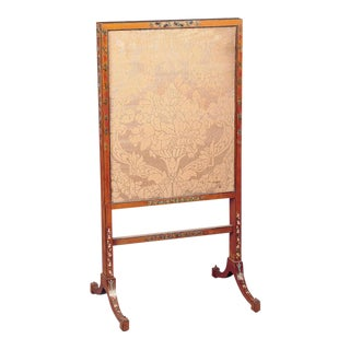 19th Century Hand-Painted Satinwood Firescreen