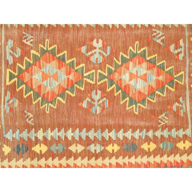 Orange and Brown Vintage Turkish Anatolian Kilim - Image 2 of 3