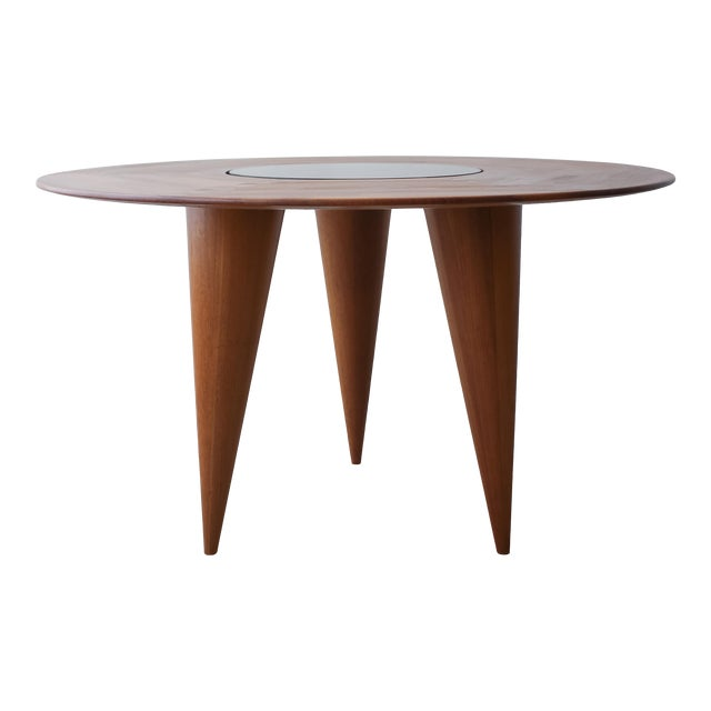 Mid Century Round 3 Legged Danish Solid Teak Dining Table For Sale