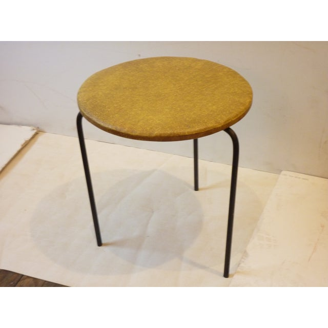 Two 1950's, sturdy iron stools, well made, with original vinyl covering, maker's label on underside not legible, can be...