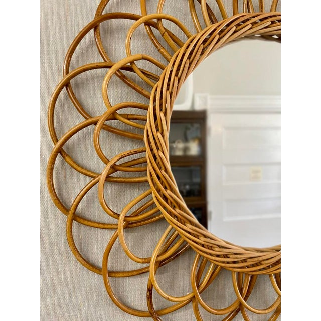 1950s Vintage French Rattan Mirror For Sale - Image 5 of 6