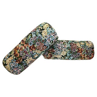 Floral Chintz Tapestry Bolster Pillows - a Pair
