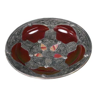 Moroccan Ceramic Bowl W/ Silver Inlay For Sale