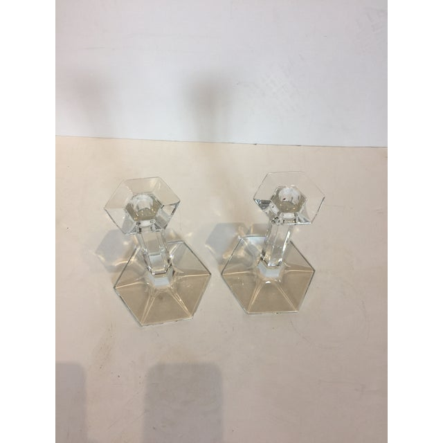 Vintage Baccarat Clear Crystal Modern Hexagonal Base Candlesticks - a Pair For Sale In Los Angeles - Image 6 of 8
