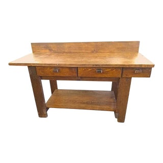 Antique 6 Foot Pine Work Bench Table For Sale