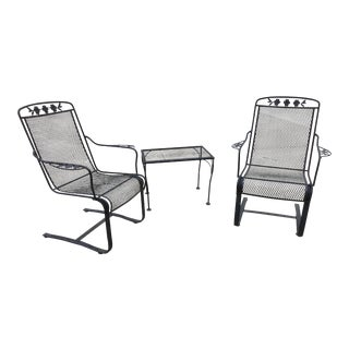 Russell Woodard Wrought Iron Bouncy Patio Chair Table Set- 3 Pieces /Vintage For Sale