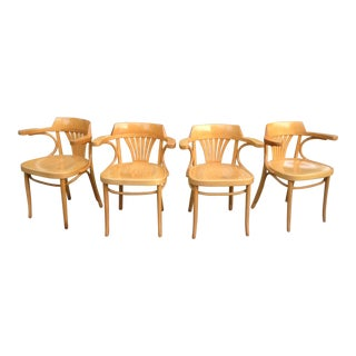 1980s Vintage Thonet Brothers Fameg Beech Bentwood Captain Chairs - Set of 4 For Sale