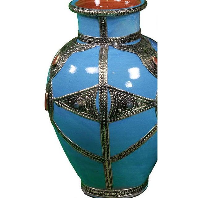 Blue Silver Moroccan Ceramic Vase Chairish