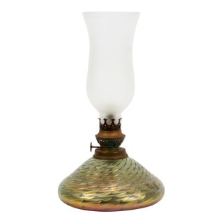 Late 20th Century Art Glass Oil Lamp Iredescent Base With White Frosted Glass Shade For Sale