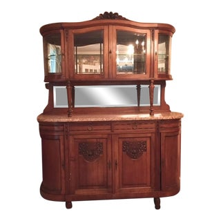 Antique French Walnut With Marble Top Buffet