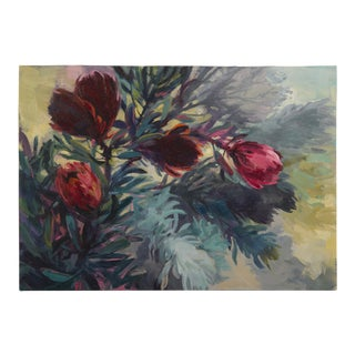 """Five Tall Proteas"", Original Oil on Canvas, Jenny Parsons, South Africa 2012 For Sale"