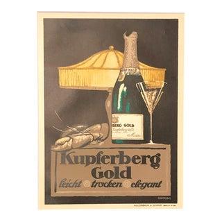 1910's German Art Deco Alcohol Poster, Kupferberg Gold Champagne - Gipkens