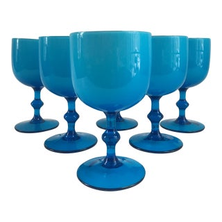 Mid-Century Murano Carlo Moretti Aqua Blue Wine Stems - Set of 6