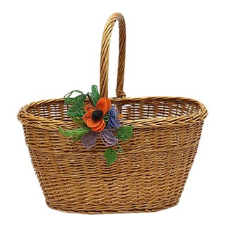 Midcentury French Wicker Market Basket For Sale