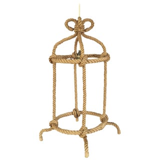 Bird Cage Shaped Petite Rope Pendant by Audoux Minet, France, 1960s For Sale