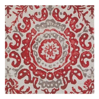 Duralee Medallion Red Fabric For Sale