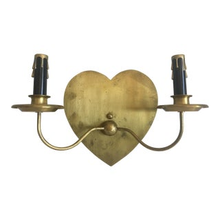 Mid-Century Brass Heart Sconce